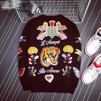 Wholesale Tiger Fashion Sweaters - new luxury italy the tiger and brid high quality embroidery bee Cashmere and woolLong-sleeved sweater for winnter for man