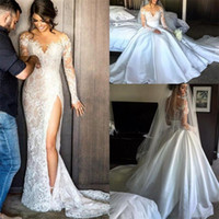 Wholesale wedding dresses detachable cathedral train - Side Split Lace Wedding Dresses With Detachable Skirt Sheath Illusion Back High Long Sleeves Wedding Dress Back Covered Button Bridal Gowns