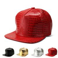 Wholesale Diy Crocodile - Adjustable DIY Blank PU Hats Hip Hop Snapback Baseball Caps Crocodile pattern Hats Flat Edge Unisex Sports Caps for Women Men Casual Hats