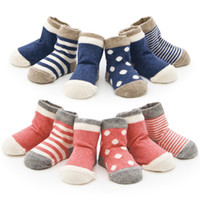 Wholesale Toddler Terry Socks - 16 Colors Newborn Baby soft Flanging terry socks Toddlers Boneless stitching dots striped socks 3size for 0-3T boys girls