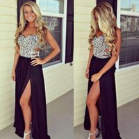 Wholesale One Shoulder Open Back Slit - Cheap Open Back Prom Dresses A-Line Sequin Chiffon Sleeveless Sweetheart Open slit long Formal Evening Gowns For Party Dress 2017 New Hot