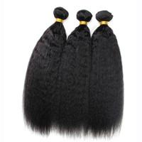 человеческие волосы yaki утки оптовых-9a малайзийский кудрявый прямые волосы 3 шт. / лот, грубые утки волос Яки, натуральный черный афро кудрявый прямой переплетения итальянский Яки человеческих волос пучки
