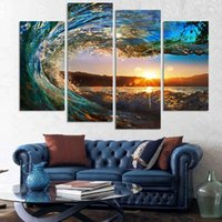 Wholesale Abstract Waves Painted Walls - Fashion Without Framed 4 Panel Modern Seascape Painting Canvas Art Hdsea Wave Landscape Wall Picture For Bed Room Color Multicolor