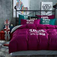 Wholesale Offset Machines - European Style Offset Print Purple Color Twin   Queen   King Size 100% Cotton Kids Bedding Set