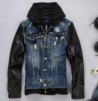 Wholesale Denim Jacket Men Leather Sleeve - Wholesale- Free Shipping!2017 Spring And Autumn Fashion Brand Designer Jackets Leather Sleeves Jeans Jacket Mens Hooded Denim Coats M-XXL