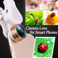 Wholesale Telescope Fisheye Lens - New 4 in 1 Cell Phone Fish Eye Lens Clip &Telescopes LED Filling Light Fisheye wide angle lens Macro Lens for ios Android &Most Smart phones