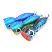 Topwater Saltwater Popper Pesca Lure Big Game GT Lure Wood esca Mustad Hook 180mm 140g