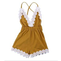 Wholesale lace trimmings wholesale - Cute Lace Trim Baby Girls Romper Western Girls Outfit Backless Baby Girls Jumpsuit Cotton Sleeveless Baby Clothes