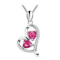 Wholesale Silver Chain Necklace Elegant - 18K White Gold Plated Love heart necklace 925 sterling silver Red Crystal Heart Pendant Necklace for elegant lady 15.74inch,17.71inch Chain