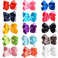 "Wholesale Large Boutique Bows - 15 Pcs lot 8"" Hair Bow Handmade Solid Large Hair Bow For Girls Kids Grosgrain Ribbon Bow With Clips Boutique Big Hair Accessories"