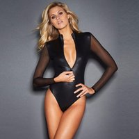 Wholesale Long Sleeve Bodysuit Catsuit Jumpsuits - Sexy Women Sheer Long Sleeve See-through Bodysuit Black Jumpsuit Patchwork Leotard Zipper Catsuit Romper Party Clubwear