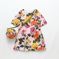 Wholesale Wholesale Dress Purses - Dresses set for Girls with Purse Fashion Designer Brand Summer Dress Printed Cotton Children's Day Sold By Lot