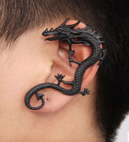 Dragon Ear Punles Antique Silver / Antique Copper / Black Tones Pas de Piercing Stud Earrings Bracelet Boucles d'oreilles