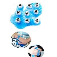 Wholesale Massager Metal Balls - Purple Rotatable 9 Metal Roller Ball Massage Glove Body Massager Health Care