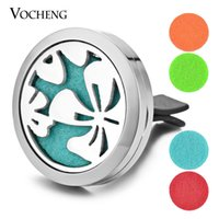 Wholesale Magnetic Oil - Essential Oil Car Diffuser Locket Vent Clip 316L Stainless Steel Pendant Magnetic Flower without Felt Pads VA-309