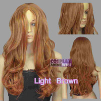 60cm Hellbraun Hitze Styleable Nein Bang Curly wellig Cosplay Perücken 38_LLB