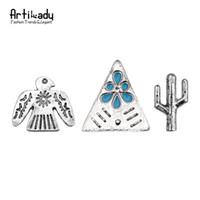 Wholesale Vintage Brooch Set - Wholesale- Artilady fashion cactus brooches set vintage antique silver plated eagle brooch pins for women jewelry party