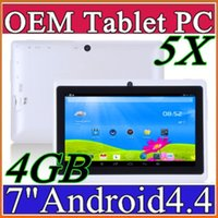 5X Дешевые 7inch Q88 Двойная камера A33 Quad Core Tablet PC Android 4.4 OS Wifi 4GB 512M RAM Multi Touch емкостный Bluetooth Tablet Xmas A-7PB