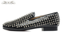 MBL999E Taille 36-46 Hommes Femmes Noir Cuir verni avec Silver Spikes Slip On Round Toe mocassins de mode, Gentleman Wedding Party Dress Shoes