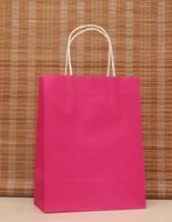 ручная подарочная сумка для ручек оптовых-Оптовая продажа-40 шт./лот многофункциональный розовый бумажный мешок с ручками / 21x15x8cm / фестиваль подарочный мешок / хорошее качество покупки крафт-бумажные пакеты