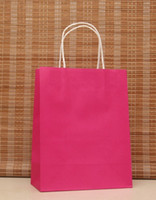 Wholesale Pink Paper Gift Bags Wholesale - Wholesale- 40PCS LOT Multifunction rose pink paper bag with handles 21x15x8cm  Festival gift bag   good Quality shopping kraft paper bags