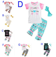 Wholesale baby headbands new - New Summer Baby Girls Clothes Sets Letter Arrow T-shirt+Pants+Bow Headbands Children 3pcs Set Boutique Kids Girl Clothing Set
