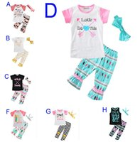 Wholesale boutique shirts baby girl - New Summer Baby Girls Clothes Sets Letter Arrow T-shirt+Pants+Bow Headbands Children 3pcs Set Boutique Kids Girl Clothing Set