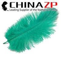 Wholesale Aqua Led - Leading Supplier CHINAZP Crafts Factory 30~35cm(12~14inch) Top Quality Dyed Aqua Green Ostrich Confetti Feather for Wedding Centerpiece