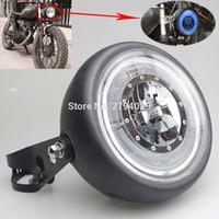 Wholesale Halo Mount Ring - Free Shipping Black Motorcycle Blue HALO Ring LED 6 1 2 Inch Headlight Head Lamp + Mounting brackets For Harley Bobber Angel Eye