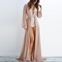 Discount l beach maxi dress - Hot Newest 2017 Summer Long Sleeve Maxi Dress Sexy V Neck Bow Tie Beach Dress Cover ups ZL3314