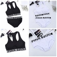 Wholesale Girls Bra Brief Sets - PINK Tracksuit Women Yoga Suit Summer Sport Wear Fitness Bra Briefs Gym Top Vest Panties Running Underwear Sets With Chest Pad OOA2908