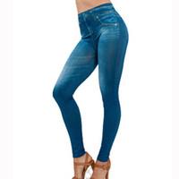 Wholesale Girl S Leggins - Wholesale- 2016 Hot Women's Solid Slim High Elastic Leggings Jeans Girls Leggings With Pockets Causal Fasion Leggins