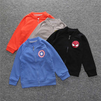 Wholesale European Clothing Men Jacket - 2016 Autumn Kids jackets Boys clothing Baseball coat Tops The Avengers Super man Hero stand collar Kids clothing Wholesale 80-130 Quality