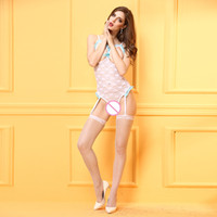 Wholesale Exotic Fork - Europe and United States sexy exposed breast conjoined open fork exotic women lingerie temptation bud silk pajamas sexy appeal