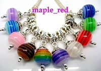Venda Por Atacado 100pcs / lot Mixed linda Striped Round Ball Resin Dangle Big Hole DIY encantos encaixe europeus encantos pulseira colar