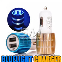 Wholesale car cigarette plug adapter - Colorful Led Car Charger 2 ports Cigarette Port 5v 2.1A Micro USB Car Plug USB Adapter For Iphone 7 Iphone 6 Plus