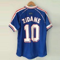 Wholesale Shirts Jersey Tops - ^_^ Wholesale 1998 FRANCE retro soccer jerseys home top thai 3AAA customzied name number zidane Henry soccer uniforms football shirts