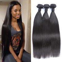 cheveux vierges cambodgien 34 pouces achat en gros de-Cheveux droits Weaves Cambodgien Vierge Cheveux Humains Double Trame 8-30 pouce Naturel Noir 3 pcs Cheveux Weave Bundles FDSHINE