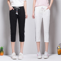 Wholesale Preppy Clothes For Women - 2017 Fashion Woman Clothe Simple Style Candy Color Elastic Capri Pants Casual Six Colour Skinny Plus for Woman
