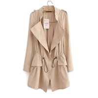 Wholesale Trench Coat For Women Pink - Fashion 2016 New Hot Office elegant drawstring Waist trench coat for women Casual windbreaker female D191