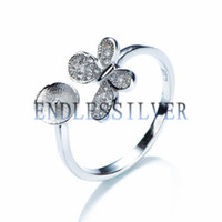 Wholesale 925 Butterfly Rings - Ring Settings Blank Base Butterfly 925 Sterling Silver Zircon DIY Jewellery Findings Pearl Mounting for Pearl Party