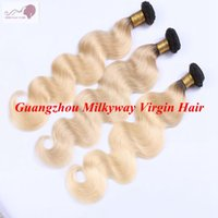 Wholesale Two Tone Human Braiding Hair - Lingth Blonde Brazilian Ombre Human Hair Weave Bundles Silky Straight Two Tone Ombre Braiding Peruvian Cambodian Indian Virgin Hair