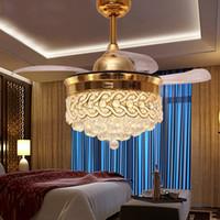 nickel anhänger großhandel-42 Zoll Led Deckenventilatoren Licht Invisible Blades Deckenventilatoren Lampe Wohnzimmer Schlafzimmer Kronleuchter Deckenleuchte Pendelleuchte AC110V-220V
