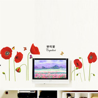 Wholesale Red Poppy Wall Stickers - Bright Red Corn Poppy Beautiful DIY Wall Wallpaper Stickers Art Decor Mural Room Decal Art Decor Decals