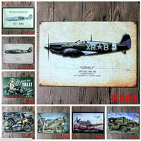 Wholesale Paintings Houses - World War II Tin Sign Aircraft Revolution Metal Painting 20*30cm Retro Poster Tin painting Ktv Bar House Decoration Vintage Signs
