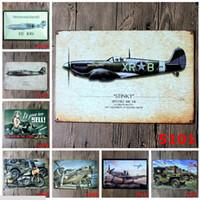 Wholesale Folk Art Houses - World War II Tin Sign Aircraft Revolution Metal Painting 20*30cm Retro Poster Tin painting Ktv Bar House Decoration Vintage Signs