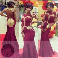 Wholesale Vestidos Longo Noite - 2017 Burgundy Wine Red Prom Dresses Golden Lace Long Sleeve Backless Sexy Evening Gown Mermaid Black Girl Vestidos Festa Longo Noite