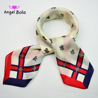 Wholesale Satin Square Scarfs - 60*60cm Industrious little bee pattern Fashion Square Silk Satin Scarf Small Scarves Square Neckerchief Female from China Silk World