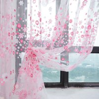 Wholesale Printed Curtain Panels - Wholesale-1 Piece New Flower Print Sheer Curtain Panel Window Room Divider 3 Colors