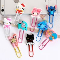 Wholesale Elephant Bookmarks - paper clip cartoon bookmarks creative wholesale metal clip Kitty doraemon Monster university elephant Environmental protection 4 set